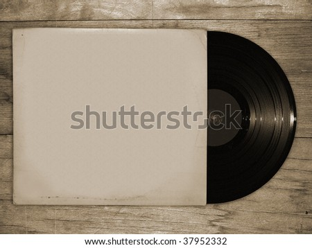 vinyl record on wooden table