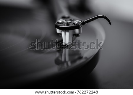 Vinyl Record Playing on Record Player #762272248