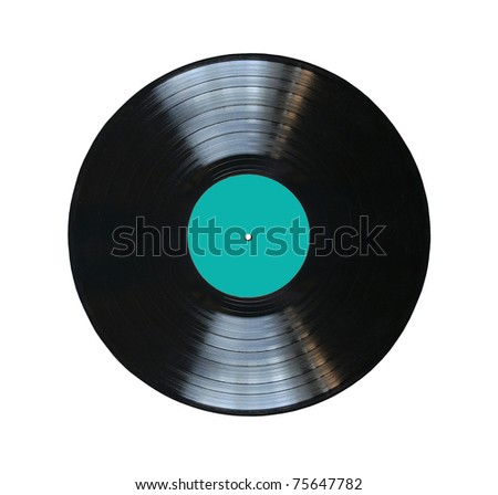 vinyl record with blue label isolated