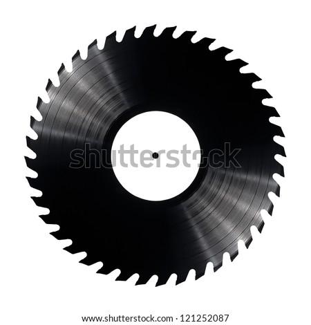 Vinyl record with circular saw blade edges.