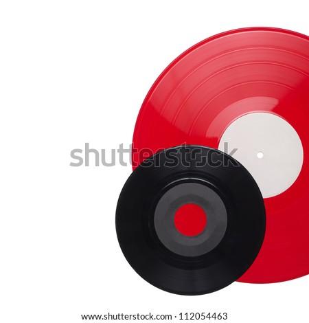 Vinyl records isolated on white