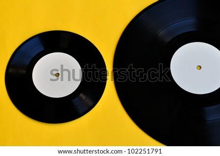 Vinyl records lp album and single. Music and audio.