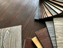 vinyl tiles collection : Luxury Vinyl floor tile or rubber flooring sample stack for interior design idea