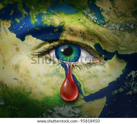 Violence in the middle east as a map of Egypt Syria Iran Israel Saudi Arabia Libya Yemen Iraq as a crying eye and a red tear of blood as a symbol of the brutality and tragic victims of war.