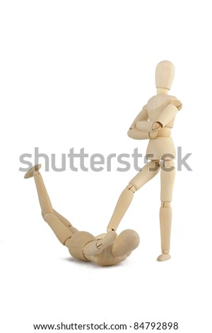 Violence wooden figure - stock photo