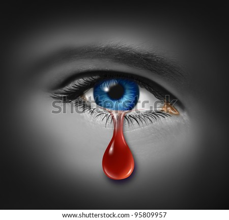 Violent crime concept with a close up of an eye ball crying with a tear of blood due to criminal violence as child abuse and Violence on Women or other victims of physical injury.