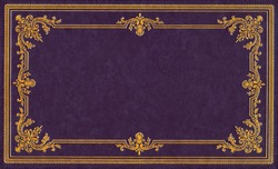 Violet and gold leather book cover