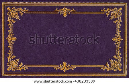 Violet and gold leather book cover #438203389