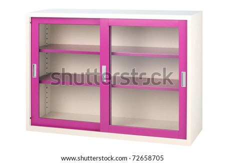 Violet cabinet with mirror door isolated on white