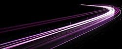 violet car lights at night. long exposure