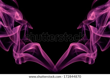 violet color smoke on the black background