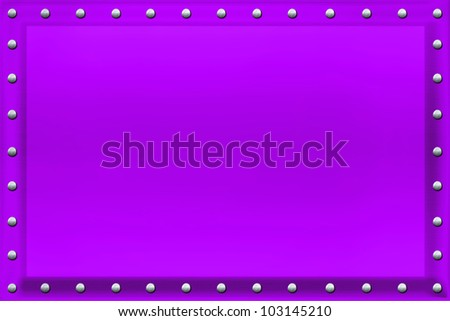 Violet colored metal plate, beveled, with chrome riveting along the edges. / Violet Sign Background, Riveted Edges /  Just add your own text, photo or painting.