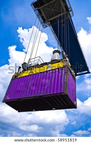 violet container box on cargo operation