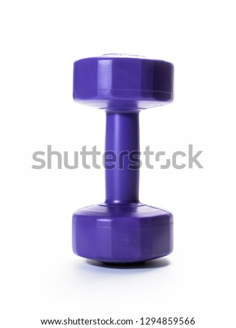 violet dumbbell  for fitness Isolated on white background