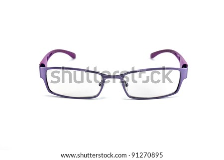 violet eyeglasses isolated on white background