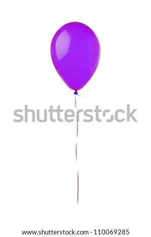 Violet flying balloon isolated on white background