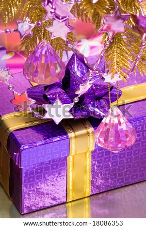 violet gift box with decoration #18086353