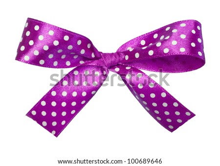 violet gift satin ribbon bow on white background