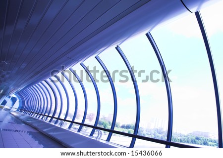Violet glass corridor in office centre #15436066