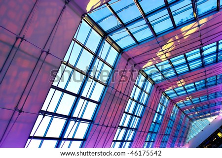 Violet illuminated ceiling indoor shopping mall