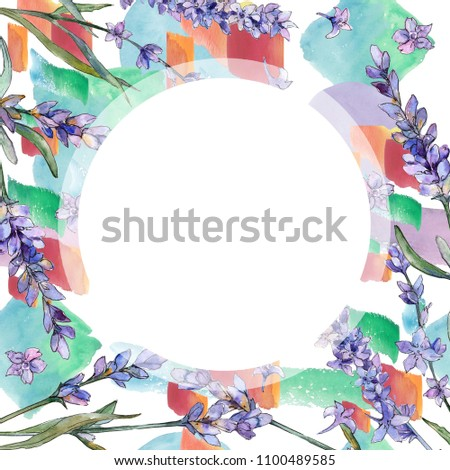 Violet lavender. Floral botanical flower. Frame border ornament square. Aquarelle wildflower for background, texture, wrapper pattern, frame or border.