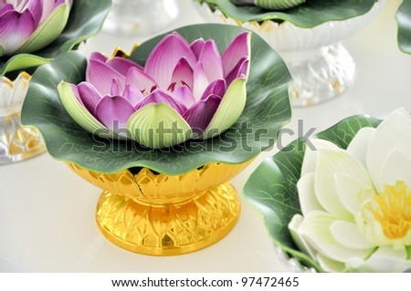 violet lotus on gold stand