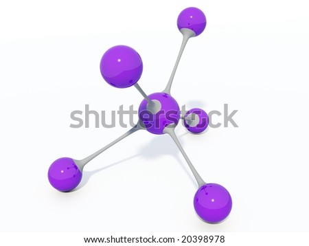 Violet molecule isolated on white