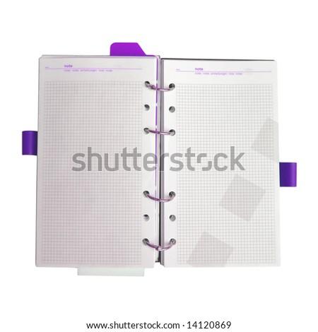 Violet notebook open