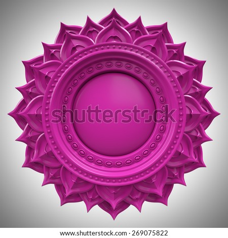 violet Sahasrara crown chakra base, 3d abstract symbol, isolated color design element Stock photo ©