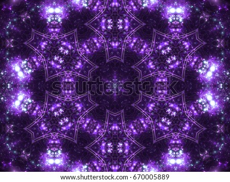 Violet seamless fractal mandala kaleidoscope, digital artwork for creative graphic design