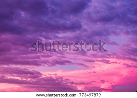 Photo of  Violet sky cloud beautiful nature  texture abstract background. Color of the year 2018 ultra violet pantone.