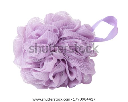Violet sponge for shower or bath isolated on the white Foto stock ©