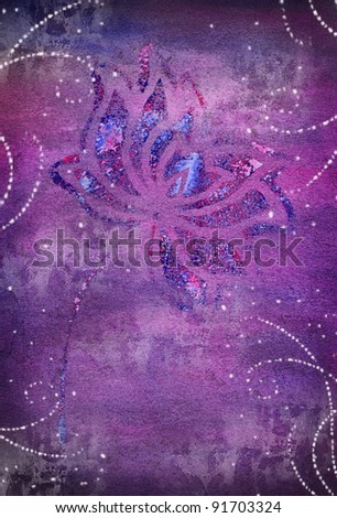 violet watercolor background with flower