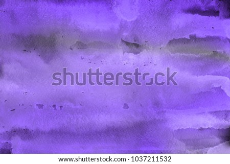 Violet watercolor ombre leaks and splashes texture on white watercolor paper background. Natural organic shapes and design. - Shutterstock ID 1037211532