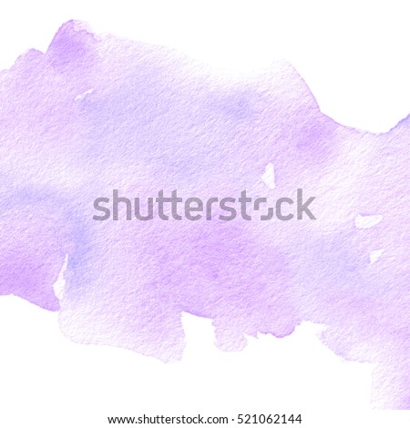 Violet watercolor wet brush paint isolated paper texture splash on white background for card, wallpaper, print. Abstract aquarelle cold color hand drawn grunge soft element for text design, web, blank