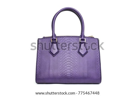Violet woman purse handbag isolated on white background