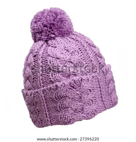 violet woolen knit hat