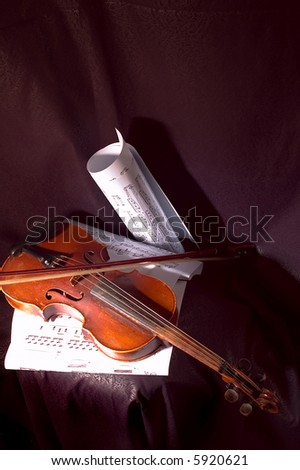 Violin and musical note on sheet of paper