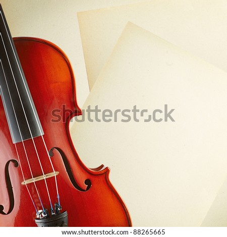 violin and paper