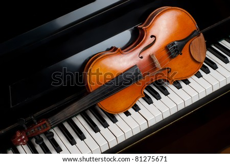 Violin and piano close up - stock photo