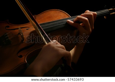 Violin classic musical instrument. Orchestra concert hands of  violinist.