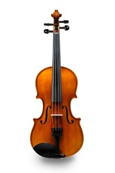 Violin front view isolated on white