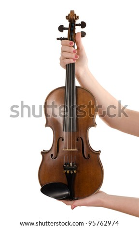 Violin in female hands isolated on white