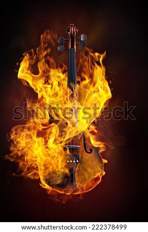Stock Photo Violin in Fire