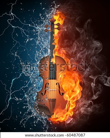 Stock Photo Violin in fire and water. Illustration of the violin enveloped in elements on black background. High resolution violin in fire and water image for a violin concert poster.