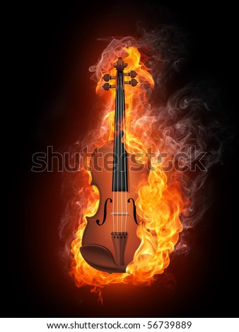 Stock Photo Violin in Fire Isolated on Black Background