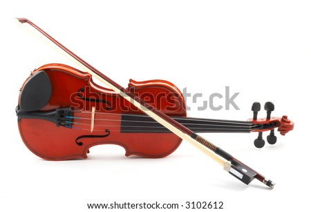 Violin lying down on side, white background, full front view with bow, horizontal, landscape orientation