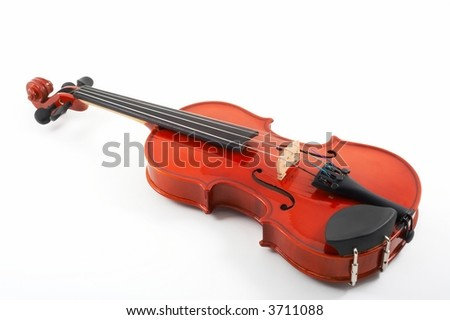 Violin lying down on white background, top angle view, horizontal, landscape orientation