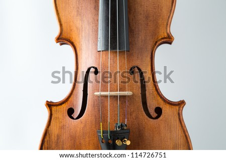 Violin music instrument isolated on white bridge f-hole fine tuners waist body part