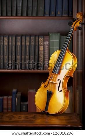 violin  near a bookcase